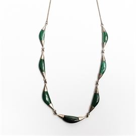 Sterling Silver and Malachite Necklace: A sterling silver and malachite necklace.