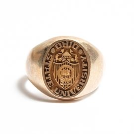 """Artcarved 10K Yellow Gold Ohio State University Ring: A 10K yellow gold Ohio State University ring by Artcarved. The inside of the band is engraved """"Mick L. Proxmire."""""""