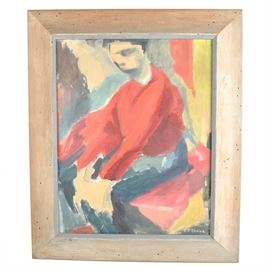 Mid-Century Oil on Board Painting: A vintage oil on board painting signed by the artist. The painting depicts a sitting man wearing red and charcoal to a multi-colored background. Signed to lower right, appears to read E P Jenks. Presented in a worm wood frame with a wire for hanging to the back.