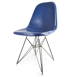"""Original Eames for Herman Miller DKR """"Eiffel"""" Wire Chair With Cover: An original Eames DKR """"Eiffel"""" black wire chair with cover. Designed in the 1950s for Herman Miller using welded steel rods, this iconic chair has been referred to as having the """"Eiffel"""" (Tower) base. Includes an original contoured blue vinyl seat."""