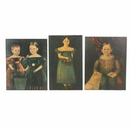 Decoupage Offset Lithographs on Board After Child Portrait Paintings: A grouping of decoupage offset lithographs on board after child portrait paintings. These three prints depict classical renditions of children, dressed up in gowns and a button up shirt, posed against a flat black background accented with flowers, velvet red cloth and a dog. Seen to the verso is an affixed tag attributing the decoupage job to Helen Johnston in 1965-1966, as well as noting each piece is from the Henry Ford Collection. Also seen to the verso is hanging wire.