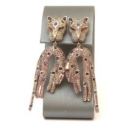 Vermeil Cat Earrings with Diamonds, Sapphires, and Rubies: A pair of cat shaped vermeil dangle earrings with diamonds, sapphires, and rubies.