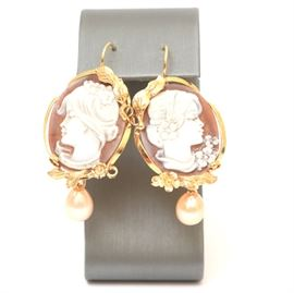 Vermeil Cameo Earrings With Carnelian and Pearls: A pair of vermeil cameo earrings with carnelian and freshwater cultured pearls.