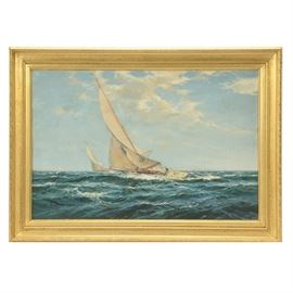 W. Knox Original Vintage Oil Maritime Painting on Canvas: An original vintage oil painting on canvas by early-20th century listed maritime painter W. Knox, titled A Following Wind – 6 Metre Class. The painting depicts two sailboats cutting across a deep teal body of water with a choppy, foaming surface. A bright cloudscape fills the upper half of the painting. The painting is signed in black to the lower left. Little is known about Knox, but their signature appears on many stunning early-20th century maritime paintings. This piece is presented in a wooden frame with cast surface embellishments, gold-tone finish, and a hanging wire.