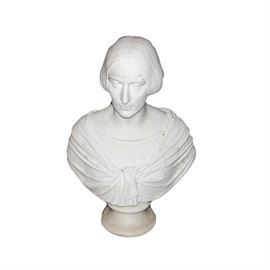 """G. Nucci F. Roma"" 1857 Marble Bust of Woman: A white marble bust dated 1857. The sculpture depicts a woman with center-parted hair pulled behind her head and braided in back. The woman wears two layers of clothing including a wrap that ties at the center. The bust rests on a round pedestal. It is marked on the back ""G. Nucci. F. Roma. 1857."""