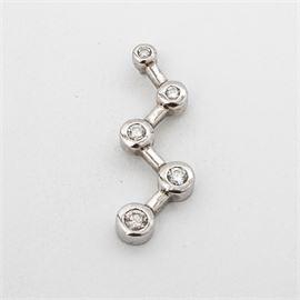 14K White Gold Diamond Zig-Zag Pendant: A 14K white gold diamond zig-zag pendant.