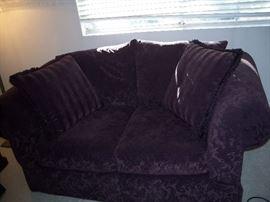 Crushed velvet purple love seat