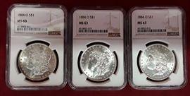 3 1884-O MS 63 Morgan Dollars