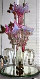 Frosted Cranberry Epergne