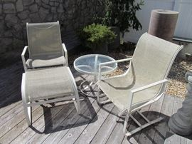Woodard sling chairs, ottoman and table