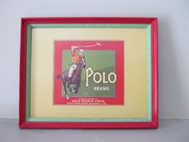 """Vintage """"Polo Brand"""" fruit crate print, matted and framed"""