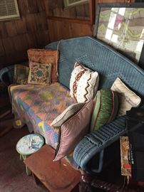 Painted vintage wicker couch