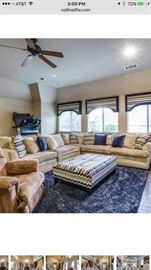 "5 piece sectional, custom made, down cushions           130""X130"".......47 inch depth and 32.5 height"