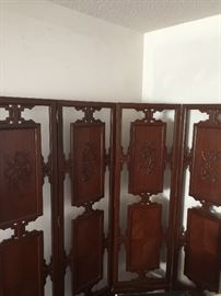 Vintage Teak Wooden Hand Carved Tall Screen
