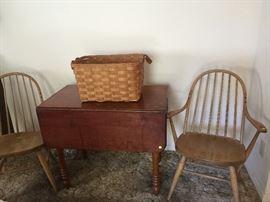Cherry Drop Leaf Antique Table & Handmade Basket