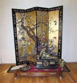 Hand Painted Lacquered Double Sided 4 Panel Chinese Room Divider made of Heavy Elm