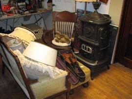 Nice parlor stove and a Francois Barzoni violin