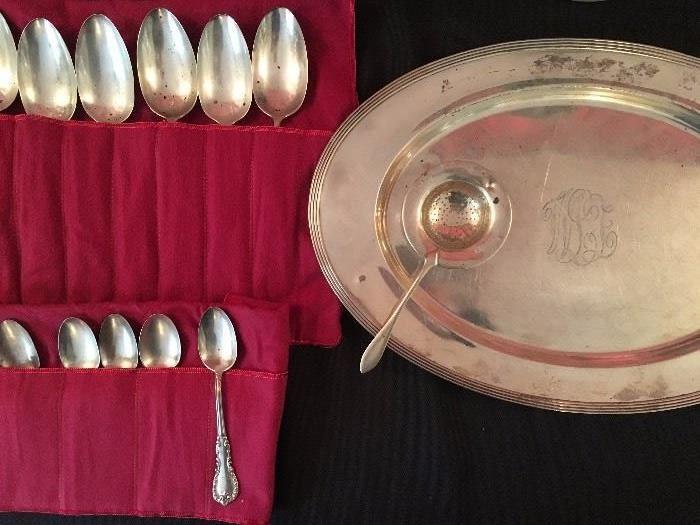 Coin Silver Flatware, Sterling Platter