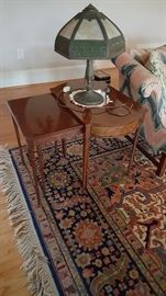 Lovely stacking tables and great vintage lamp! Oriental rug