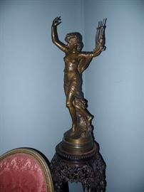"Bronze, French, late 19th Century. Woman with lyre – 30 inches. Signed, Math Moreau and below the signature ""Hors Concours""."