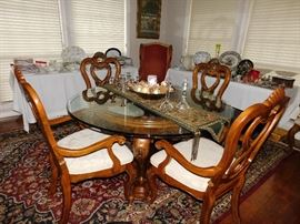 Glass top dining table w/ 6 arm chairs/shell motiff