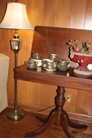 Game table, vintage tea set