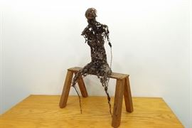 "Creepy 28"" Wire Sculpture of a Person Figure Sitting on a Wood Bench"