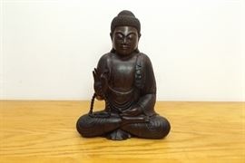 "Heavy 12"" Wood Carved Buddha"