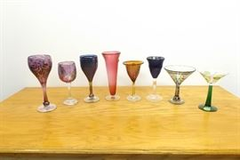 8 Artist Signed etc. Art Glass Wine Goblets, Martini Glasses, etc.