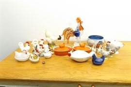 Large Lot of Chicken Themed Porcelain, Murano Glass, etc. Items