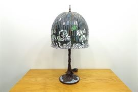 New Large Stained Lead Glass Tiffany Style 3 Light Lamp