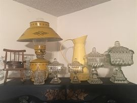 nice collection of glass and old lamp and pitcher