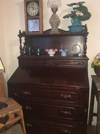 Davis Cabinet company - Nashville Tennessee Lillian Russell Cherry Walnut Wood Dovetailed Secretary Desk