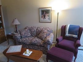 Burgundy Wing Back and Ottoman, Floral Love Seat