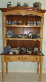 Vintage Open Wood Cupboard, Stoneware Pottery Collection, Salmon Falls Stoneware Pottery Dover, N.H.