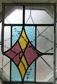 Antique Stained Glass Wood Framed Window Panels