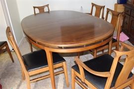 Mid Century dining set, 6 chairs and extra leaf.