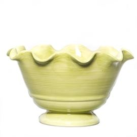 "Crate & Barrel Scalloped Serving Bowl: A Crate & Barrel scalloped serving bowl. The Serving bowl sits on a pedestal and is pale green in color. Marked under the bowl is ""Crate and Barrel Made in China."""