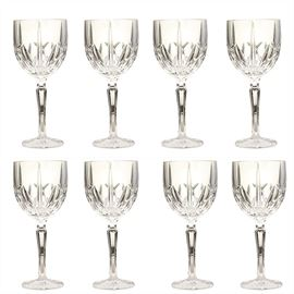"Set of Waterford Marquis All-Purpose Wine Glasses: A set of Waterford Marquis all-purpose wine glasses. The crystal wine glasses feature the brookside pattern. Etched on the foot of each glass is ""Marquis by Waterford."""