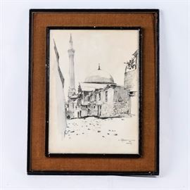 "Nimetullah Gerasim Drawing on Paper: A graphite drawing on paper by Nimetullah Gerasim (1904-1986). The piece depicts a street scene in the city of Maras. The piece is signed by the artist in pencil, dated 1968, and marked ""Maras"". The work is matted, under glass and set in a black frame."