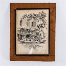 "Nimetullah Gerasim Drawing on Paper: A graphite drawing on paper by Nimetullah Gerasim (1904-1986). The piece depicts small shops in a town square or on a small street. The piece is signed by the artist in pencil, dated 1968, and marked ""Maras"". The work is under glass and set in a black frame attached to a board."