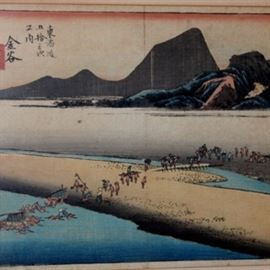 """Antique Hiroshige Restrike: An antique restrike of Kanaya: The Far Bank of the Ōi River (金谷: 大井川遠岸) from the series Fifty-three Stations of the Tōkaidō (東海道五十三次之内) by Utagawa Hiroshige (歌川 広重 1797-1858). The print and series titles are printed in the upper right corner, the artist's """"Hiroshige ga"""" (広重画) is printed along the right edge. Hand-tinted and presented in a bamboo-look frame. Companion to #17CIN148-502."""