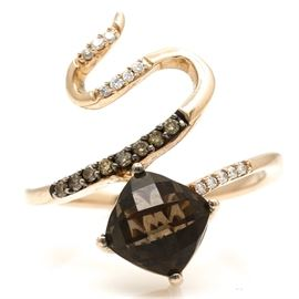 14K Rose Gold Smoky Quartz and Diamond Ring: A 14K rose gold smoky quartz and diamond ring. The total approximate group diamond weight is 0.14 ctw.