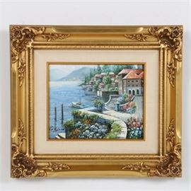 """Copeland Original Oil On Canvas of Italian Lake Front Town: An original oil on canvas by Copeland. This depicts an idyllic waterside Italian lake town, with overflowing blossoms. It is signed in the lower left """"Copeland"""" in black, however no clear artist attribution could be made. This work is presented in a gold tone wooden frame, with a linen lined inner border, wired for hanging."""