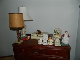 Vintage Lamps, Figurines, Chest Of Drawers,