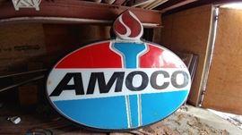 Large AMOCO gas station sign