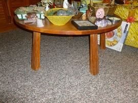 "Mid Century ""Cowboy Furniture"" Round Coffee Table by Abraham Brandt"