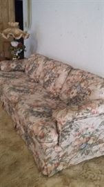 Floral sofa and matching loveseat