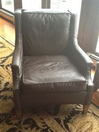 Hickory chair, brown emu covered chair recently recovered. Excellent new condition