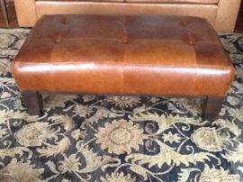 "Pottery barn leather ottoman excellent condition 30"" x 48"""